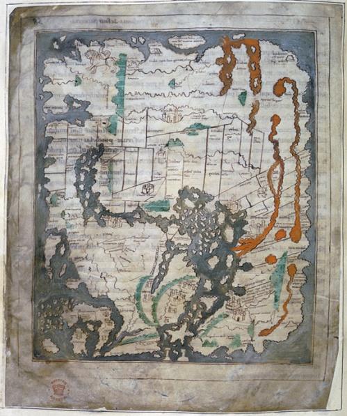 Anglo-Saxon World Map, aka the Cotton MapLondon, British Library, Cotton MS Tiberius BV f56v